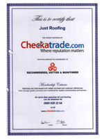 Just Roofing Checkatrade Certificate